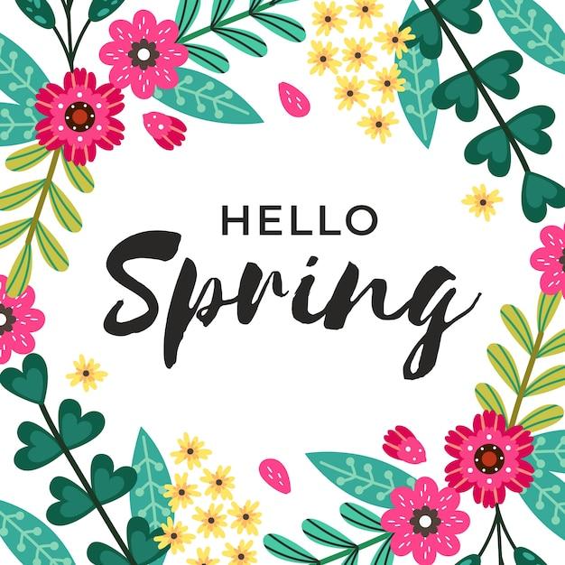 Ciao primavera lettering design con fiori rosa Vettore gratuito