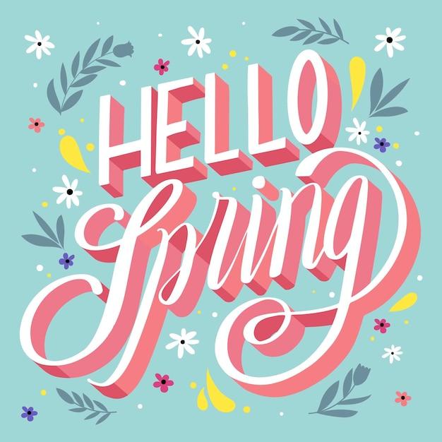 Ciao primavera lettering design con foglie Vettore gratuito