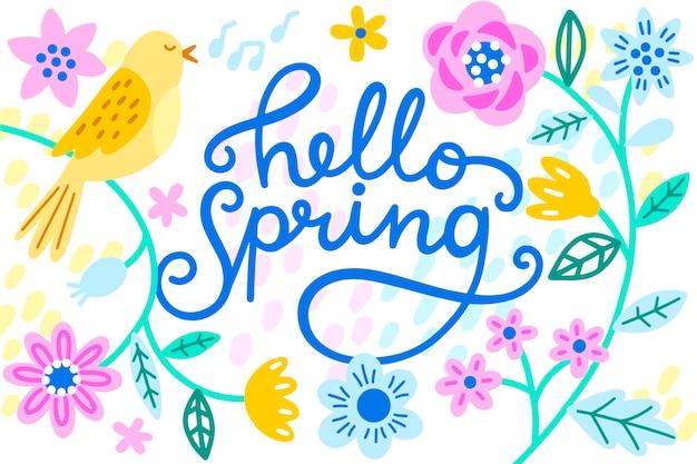 Ciao primavera lettering design Vettore gratuito