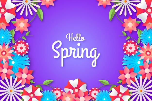 Ciao primavera sfondo colorato Vettore gratuito