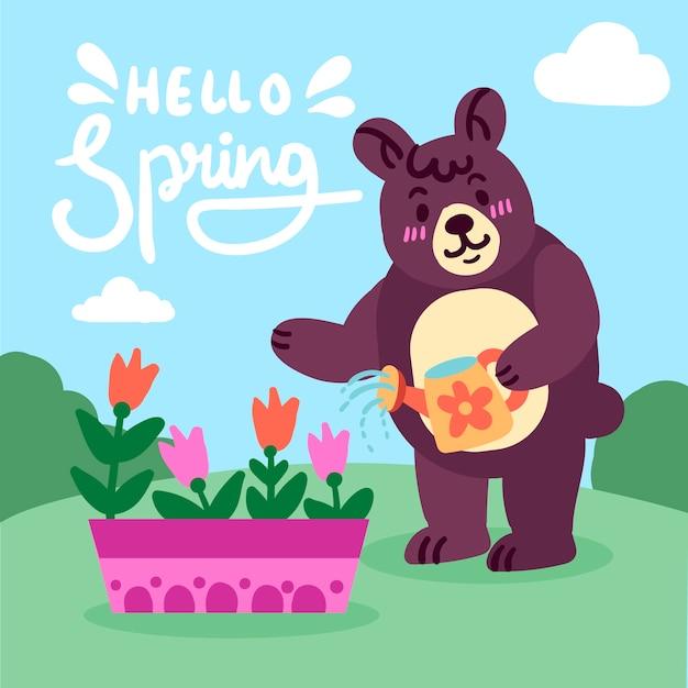 Ciao primavera sfondo con orso Vettore gratuito