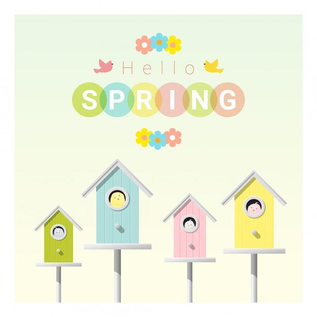 Ciao primavera sfondo con uccellini in birdhouses Vettore Premium