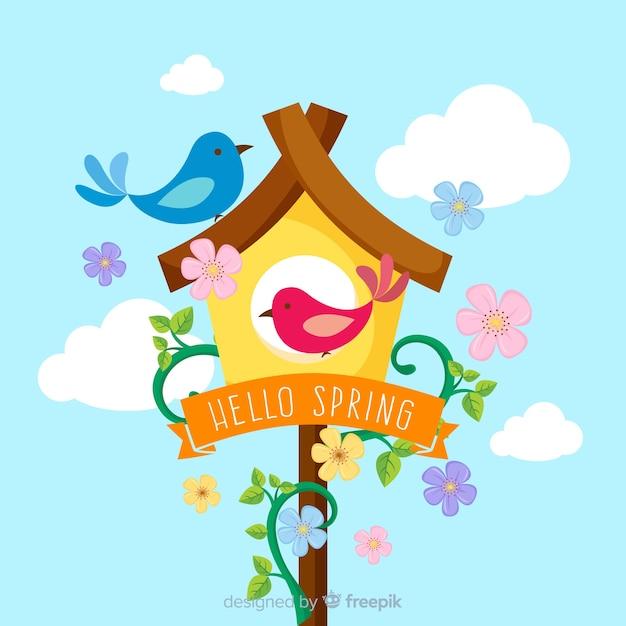 Ciao primavera sfondo piatto Vettore gratuito