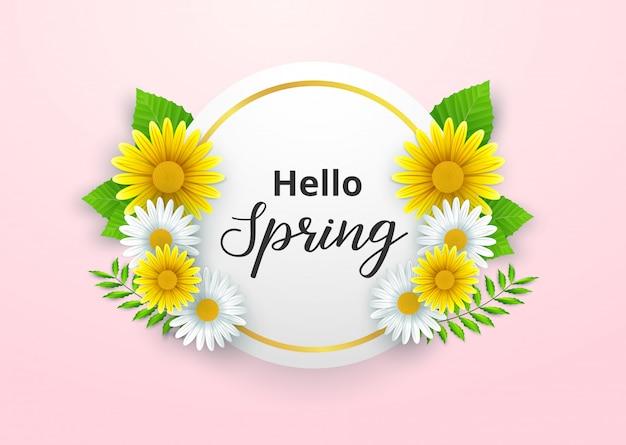Ciao primavera sfondo Vettore Premium