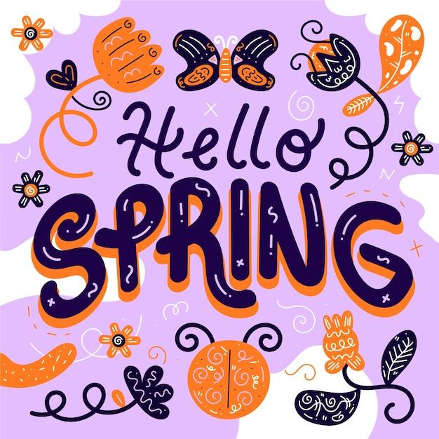 Ciao primavera stile di lettere Vettore gratuito