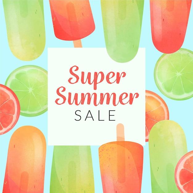 Ciao saldi estivi con lime e ghiaccioli Vettore gratuito