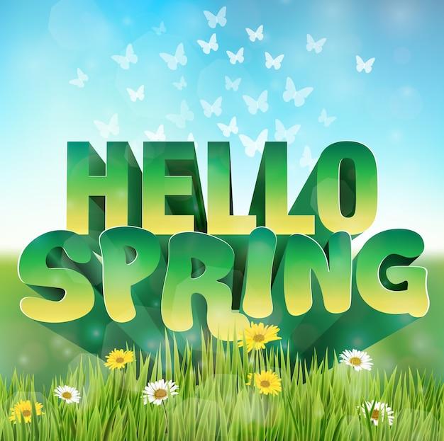 Ciao saluto di primavera con fiori margherite in erba Vettore Premium