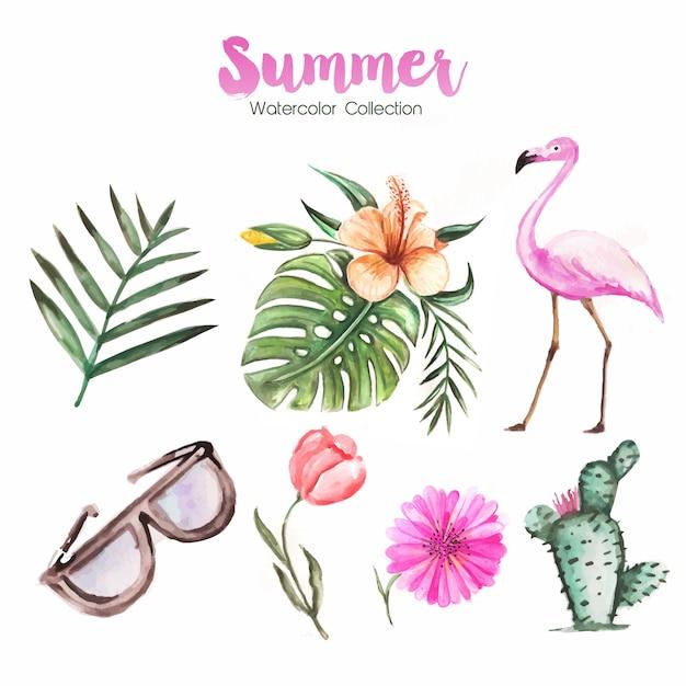 Ciao sfondo estate con piante e flamingo in stile acquerello Vettore Premium
