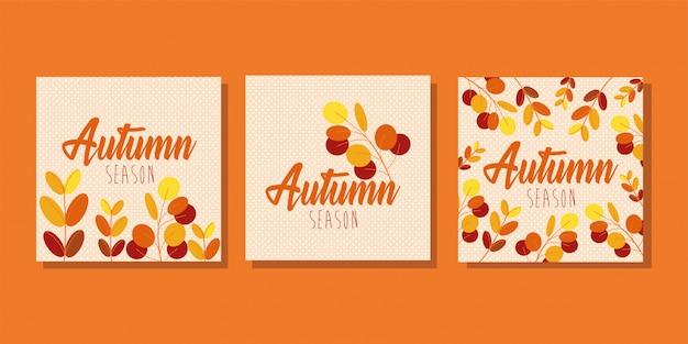 Ciao stagione autunnale mazzo di carte Vettore gratuito