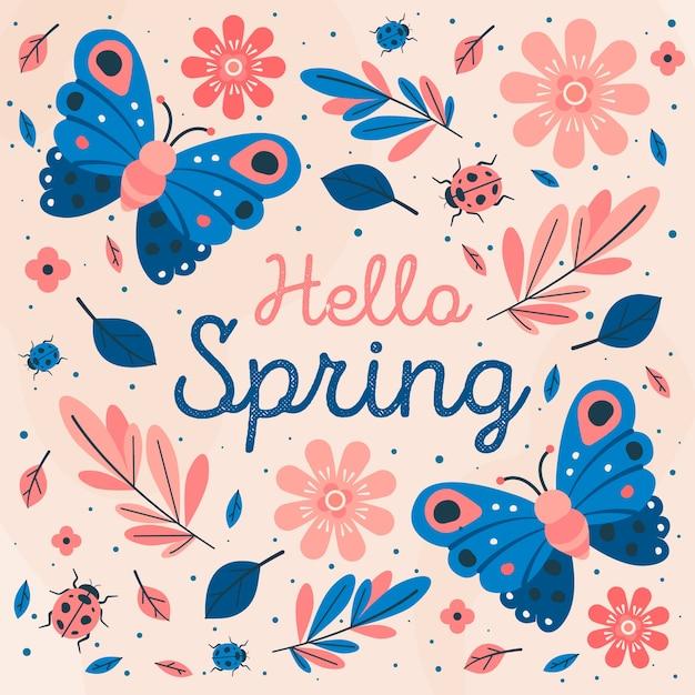 Ciao stile primavera con farfalla e fiori Vettore gratuito