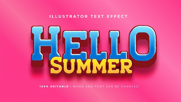 Ciao summer text effect Vettore gratuito