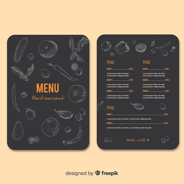 Cibo disegnato a mano sul modello di menu ristorante lavagna Vettore gratuito