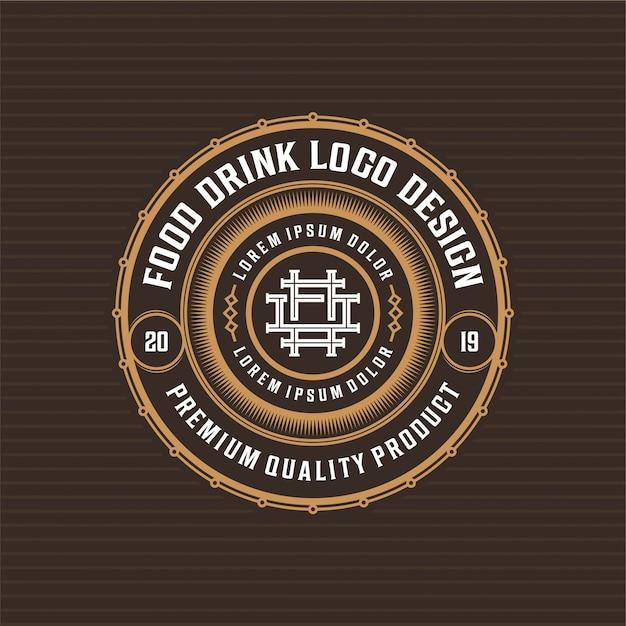 Cibo e bevande logo design distintivo per ristorante Vettore Premium