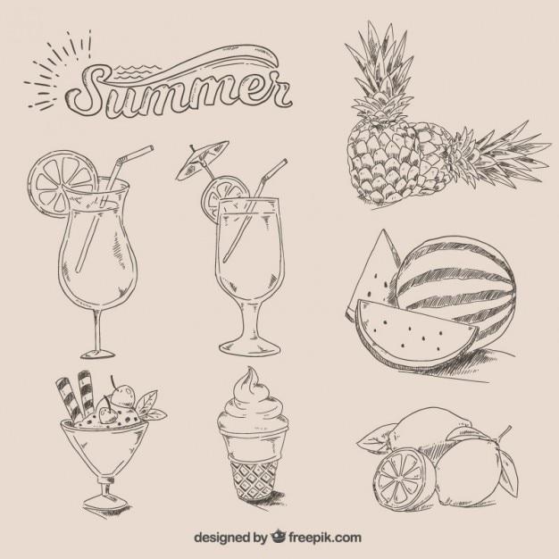 Cibo estate disegnato a mano Vettore gratuito