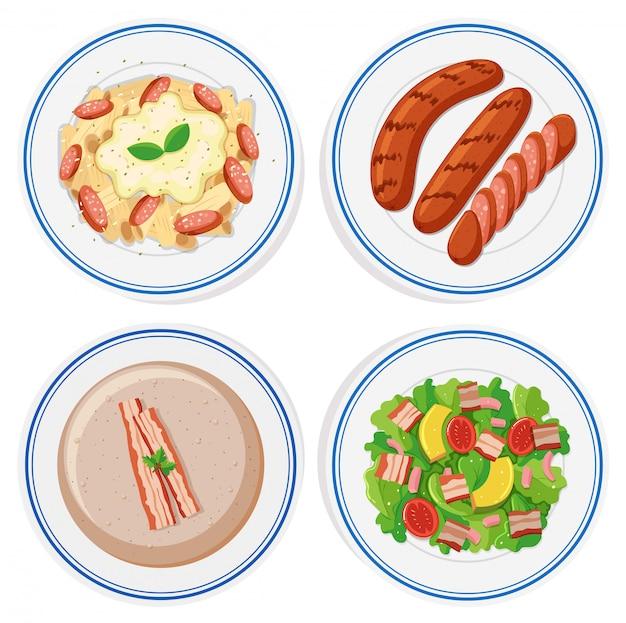 Cibo italiano su piatti rotondi Vettore gratuito