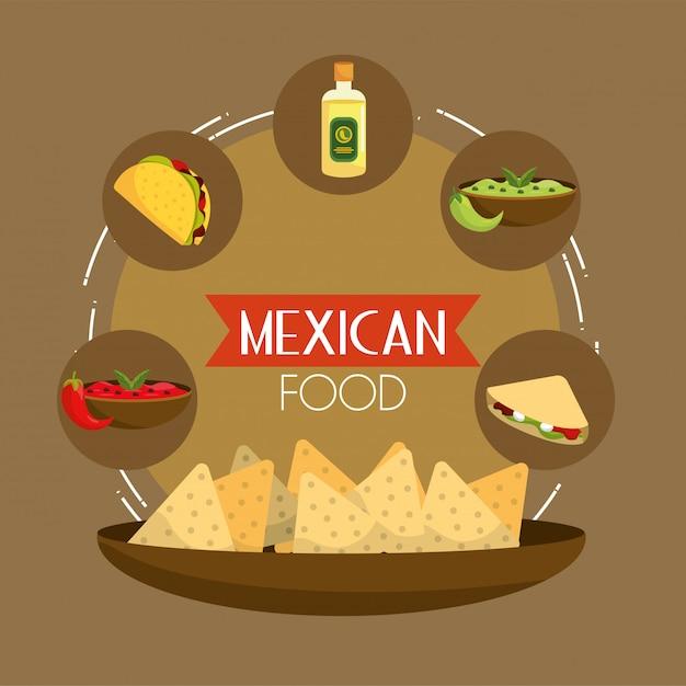 Cibo messicano di tacos con tequila e avocado Vettore Premium