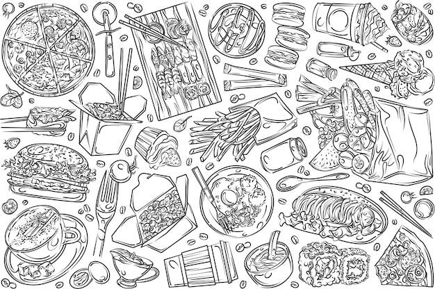 Cibo ristorante disegnato a mano Vettore Premium