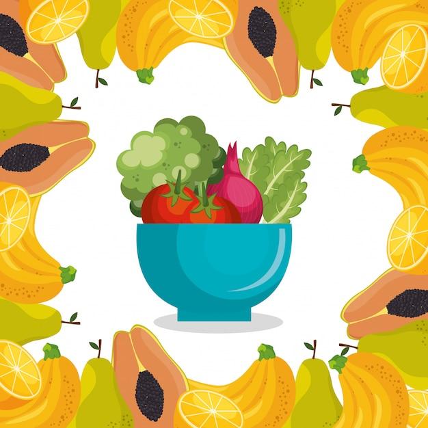 Cibo sano di frutta e verdura Vettore gratuito