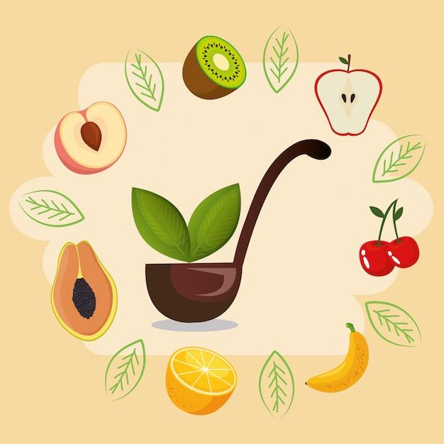 Cibo sano di frutta fresca Vettore gratuito