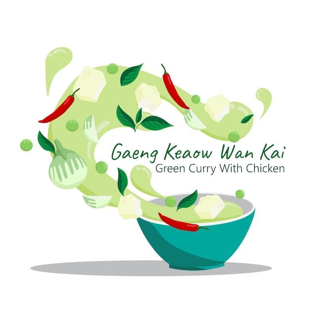 Cibo tailandese gaeng keaow wan kai. curry verde con disegno vettoriale di pollo. Vettore Premium