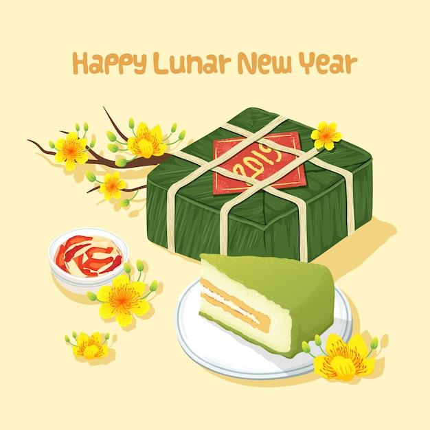 Cibo tradizionale del nuovo anno lunare del vietnam Vettore Premium