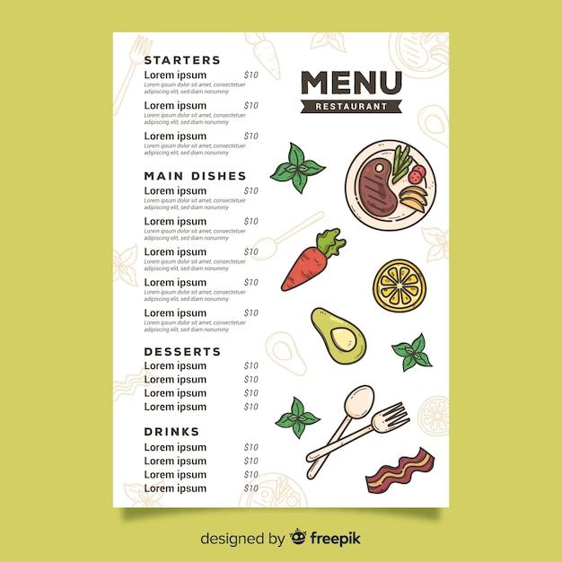 Cibo vegetariano per modello di menu Vettore gratuito