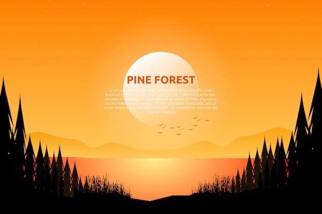 Cielo e mare di sera di paesaggio con la notte stellata e legno di pino sulla montagna Vettore Premium