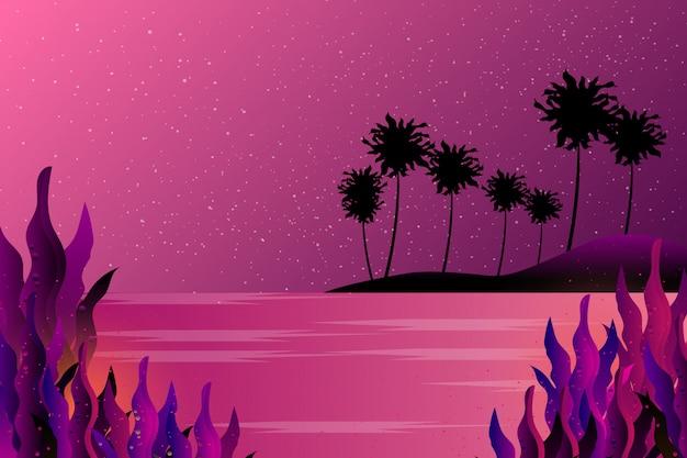 Cielo e mare sfondo stellato di notte Vettore Premium