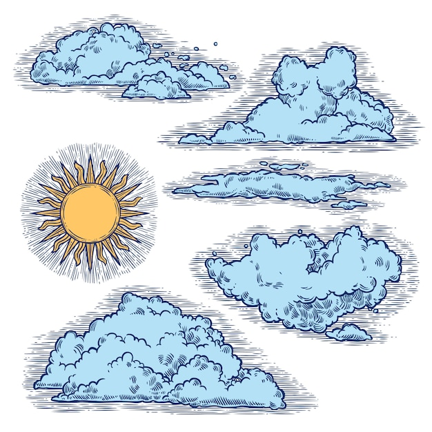 Cielo e nuvole a colori Vettore Premium