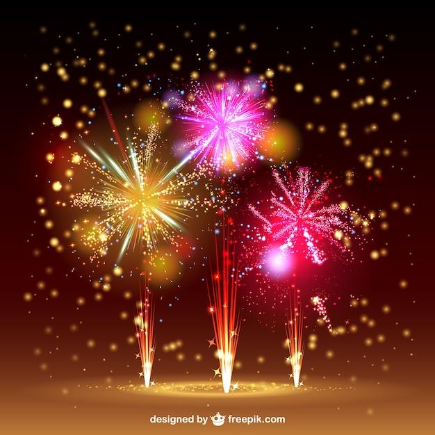 Cielo fuochi d'artificio vettore Vettore gratuito