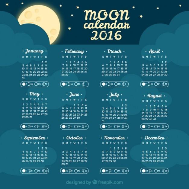 Cielo notturno calendario lunare 2016 scaricare vettori Calendario 2017 con lunas