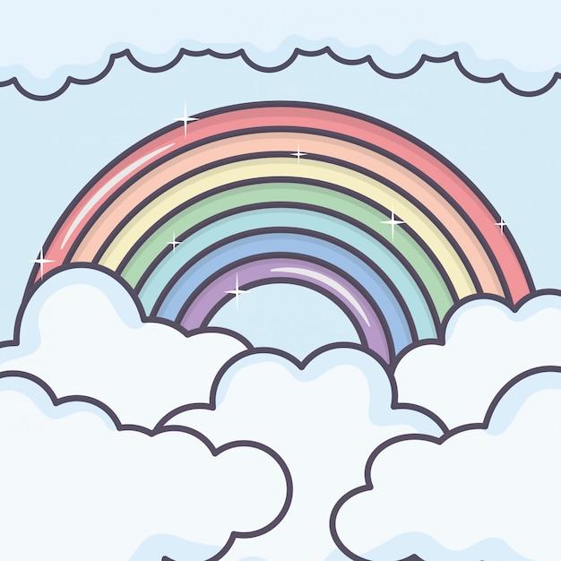 Cielo nuvole con tempo arcobaleno Vettore gratuito