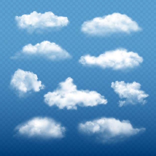 Cielo nuvoloso realistico. belle nuvole bianche condensa raccolta meteo elementi vettoriali Vettore Premium