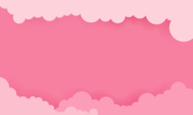 Cielo rosa con sfondo di nuvole Vettore Premium