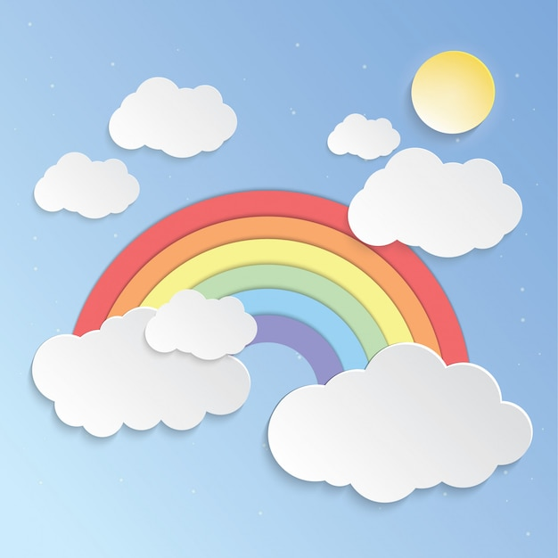 Cielo soleggiato e arcobaleni Vettore Premium