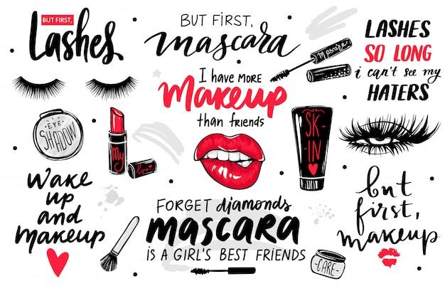 Ciglia, mascara, trucco con occhi, labbra rosse, rossetto, ombretto e citazioni o frasi. Vettore Premium