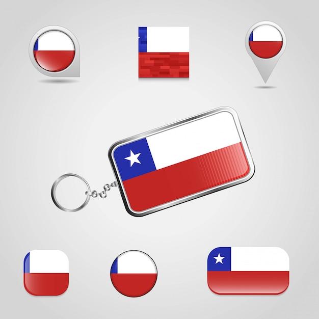 Cile country flag su keychain e mappa pin stile diverso Vettore Premium