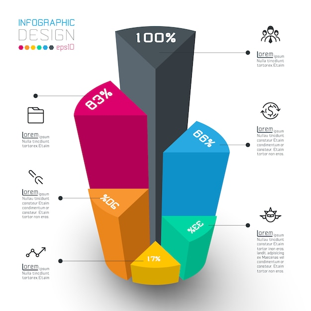 Cilindri isometrici colorati di infografica. Vettore Premium