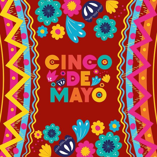 Cinco de mayo card con cornice floreale e texture Vettore Premium