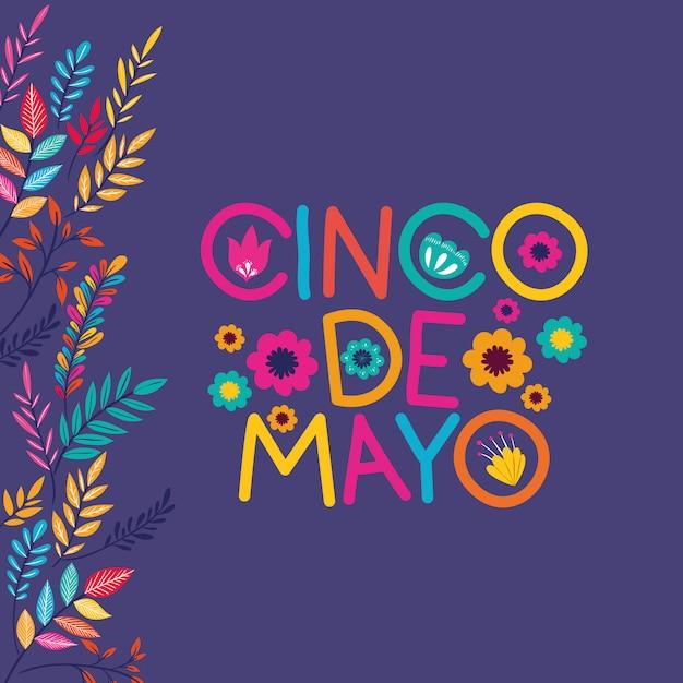 Cinco de mayo card con cornice floreale Vettore Premium