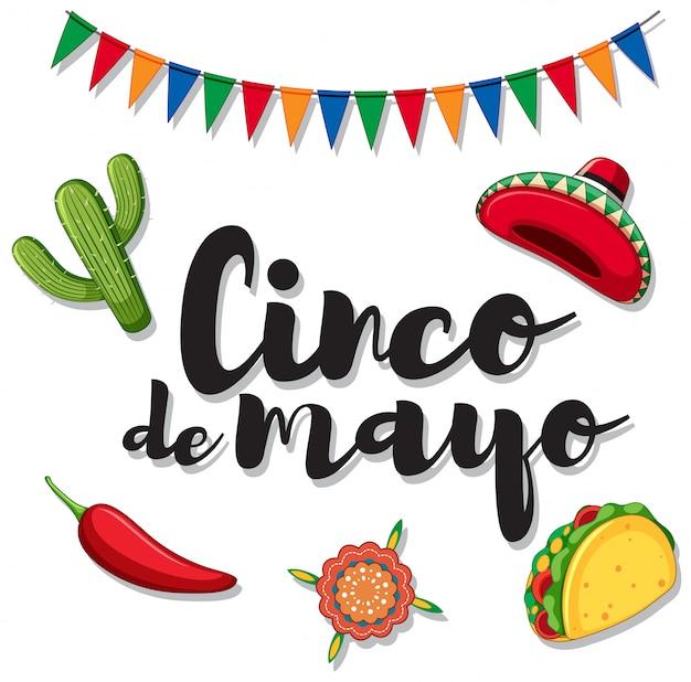 Cinco de mayo con ornamenti messicani Vettore gratuito