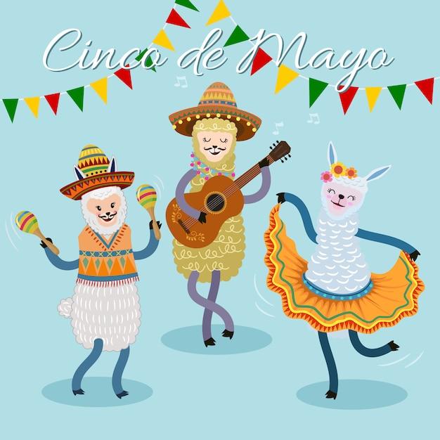 Cinco de mayo festival card con alpaca carino che canta e balla. Vettore Premium