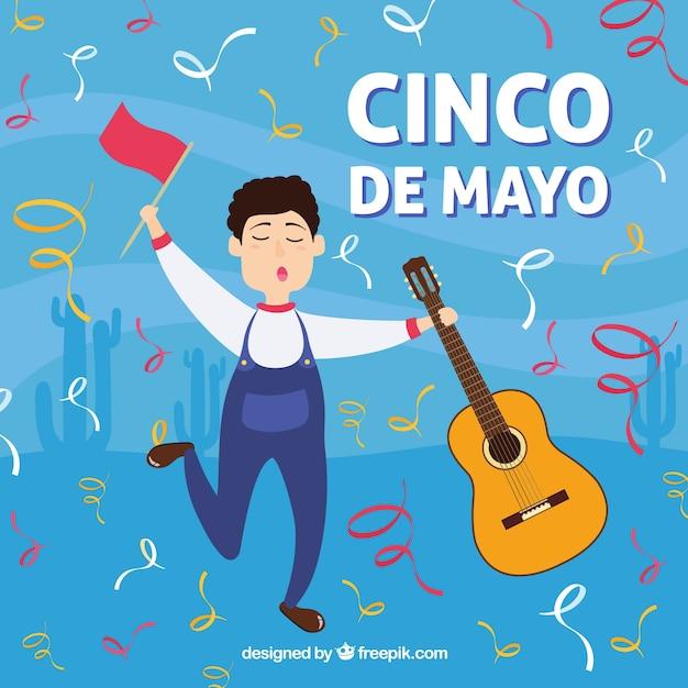 Cinco de mayo sfondo con ballo del ragazzo Vettore gratuito