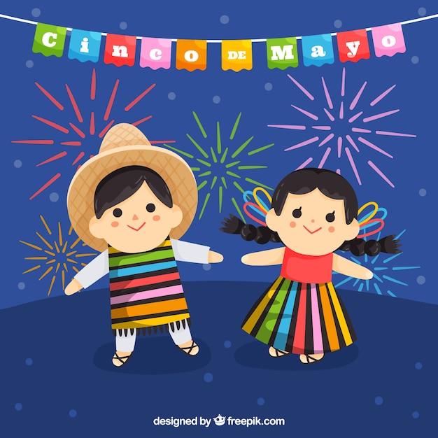Cinco de mayo sfondo con bambini carini Vettore gratuito