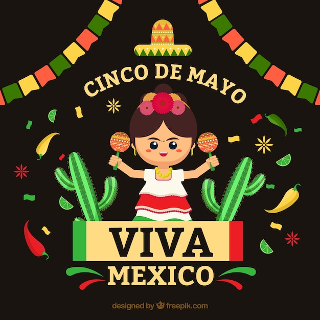Cinco de mayo sfondo con donna messicana Vettore gratuito