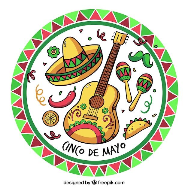 Cinco de mayo sfondo con elementi messicani Vettore gratuito