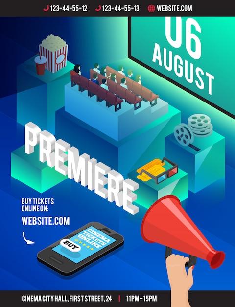 Cinema 3d poster isometrico con ingombranti cubi stile teatro a sedere popcorn film reel occhiali da vista Vettore gratuito