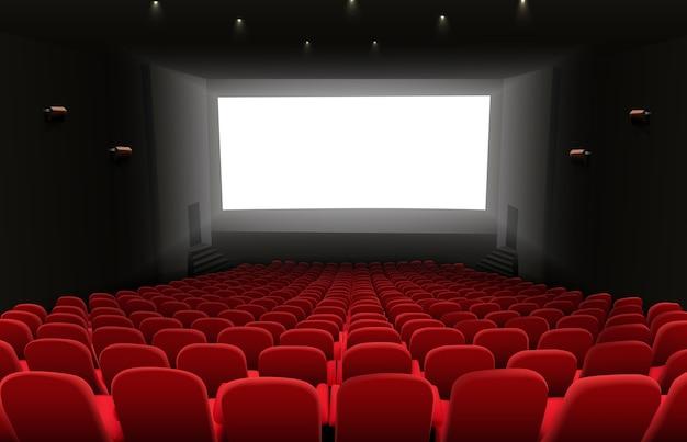 Cinema auditorium con schermo bianco bianco brillante Vettore Premium