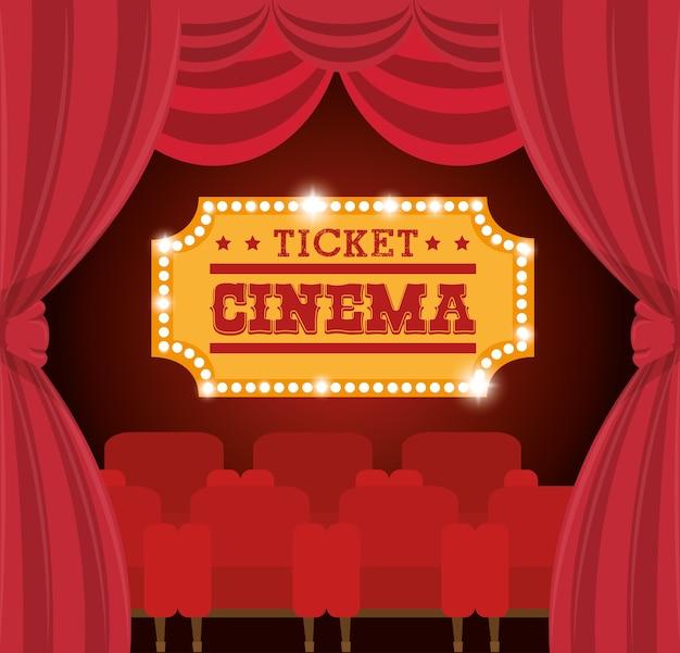 Cinema biglietto cinema d'oro Vettore Premium