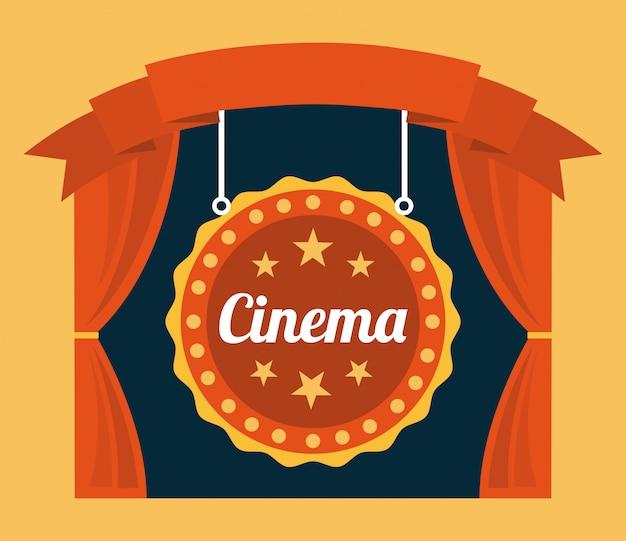 Cinema su sfondo arancione Vettore gratuito